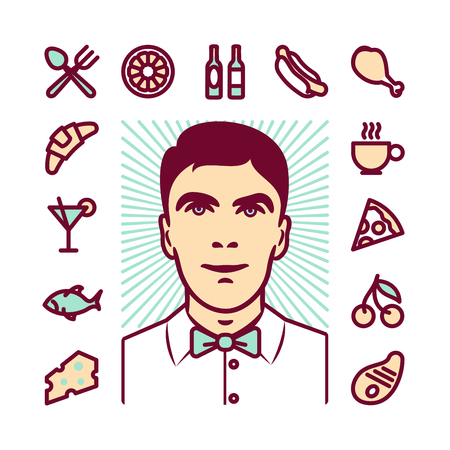 meals: Restaurant waiter Icons for web and mobile. Modern minimalistic flat design elements of various meals, drinks, food service