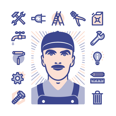 blue collar: Blue collar worker with Fat Line Icons for web and mobile. Modern minimalistic flat design elements of construction, home repair tools Illustration