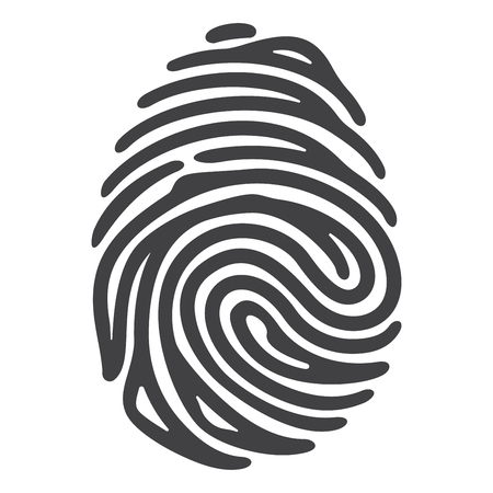 Vector black fingerprint isolated on white background Çizim