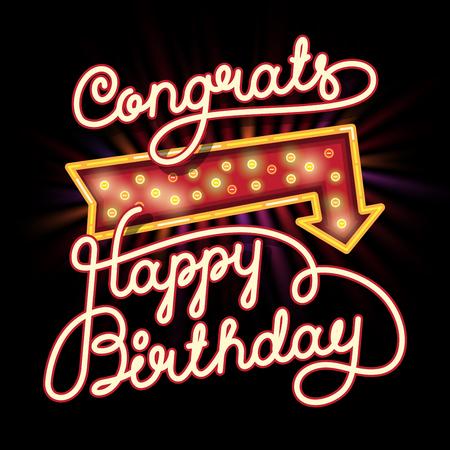 congrats: Happy Birthday Congrats Hand lettering. Original Brush Script Style Drawn Retro Vintage Vector Illustration with lighting arrow Illustration