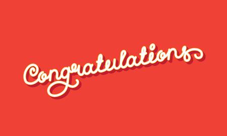 Congratulations Elegant Hand Lettering. Vector illustration