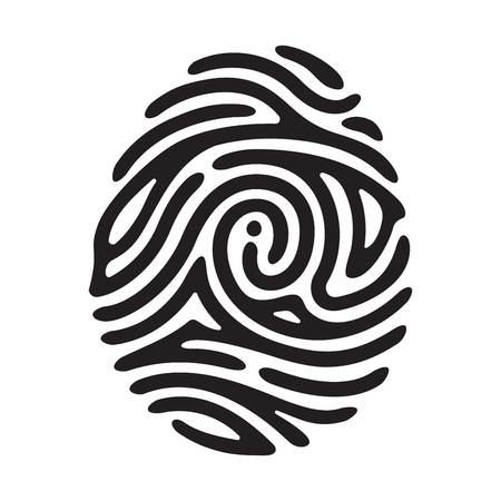 finger print: Vector black I finger print isolated on white background Illustration