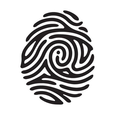 dedo: Vector Me negro huella digital aislado en el fondo blanco Vectores