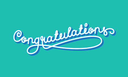 laud: Congratulations Elegant Hand Lettering. Vector illustration