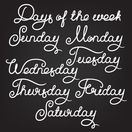 week: Handwritten days of the week