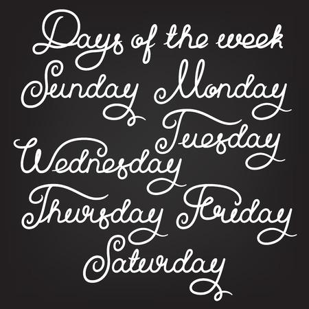 Handwritten days of the week