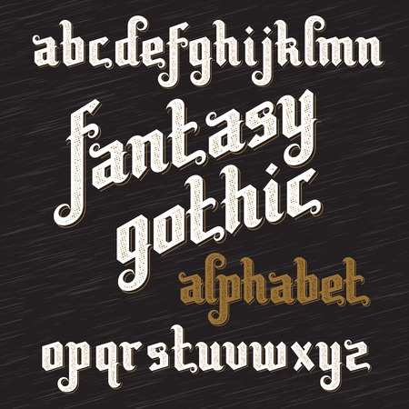 alphabetical letters: Fantasy Gothic Font.  Illustration