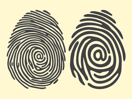 dedo: conjunto de dedo negro de impresi�n con el signo de correo electr�nico. Vectores