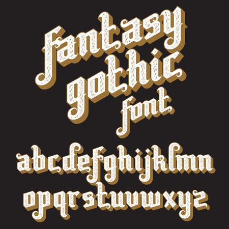 Fantasy Gothic Font. Retro vintage alphabet. Custom type letters on a dark background.