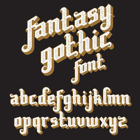 Fantasy Gothic Font. Retro vintage alphabet. Custom type letters on a dark background.