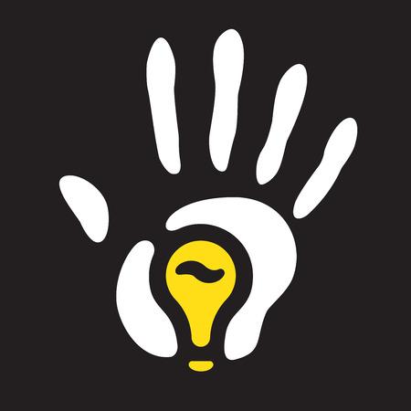 hand print: light bulb hand print.  Illustration