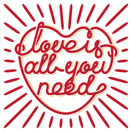 all love: Heart typography. Love is all you need.