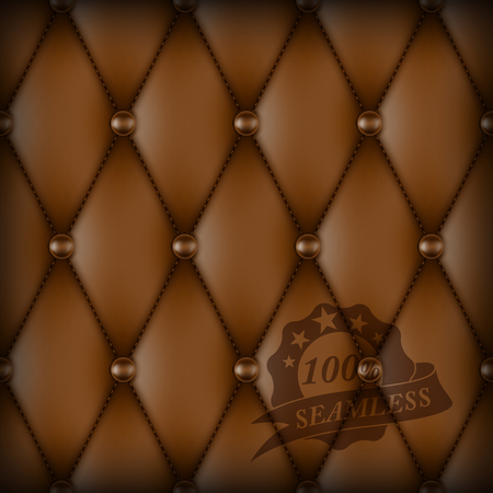 diamond shape: Brown Buttoned luxury leather seamless pattern.