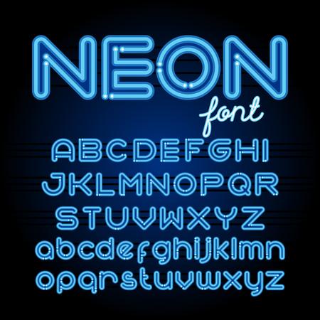 display type: Neon Light Alphabet Font.