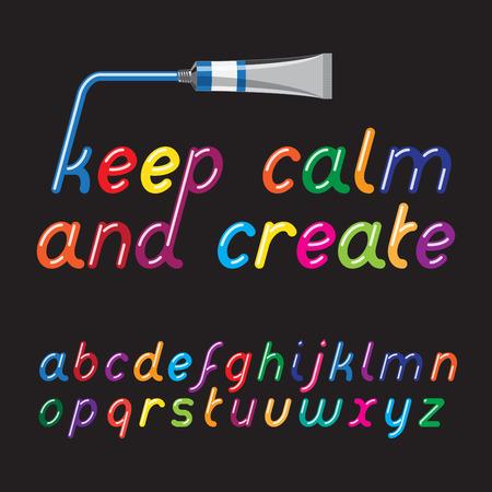Color paint font and paint tube.