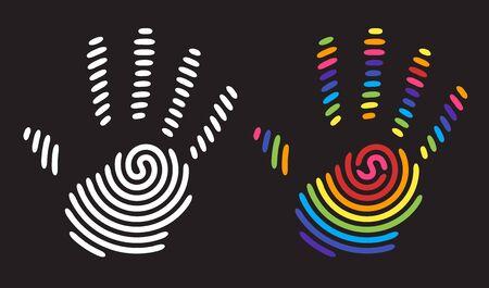 rainbow colors: rainbow handprint. rainbow colors of a hand and fingers Illustration
