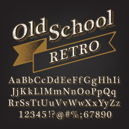 Old school Retro Vintage Style Reliefed Alphabet with Lined Shadow.  Ilustração