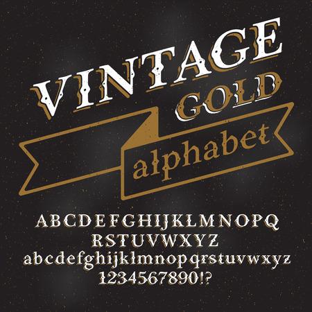 writing western: Retro vintage alphabet font.  Illustration