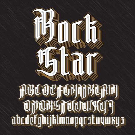 ロック スターのモダンなゴシック スタイルのフォントです。  イラスト・ベクター素材