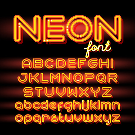 neon: Neon Light Alphabet Vector Font. Neon tube letters on dark background. Uppercase and small case set