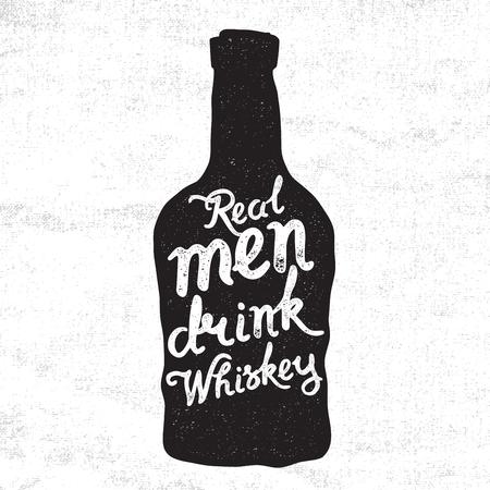 botella de licor: Botella de whisky y las letras escritas a mano Los hombres de verdad beben whisky en el fondo del lienzo. ilustraci�n vectorial