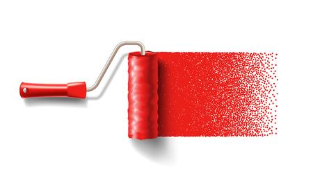 Pinte el cepillo del rodillo con la pista roja de la pintura aislada en el fondo blanco. aplicable para pancartas y etiquetas. Ilustración vectorial