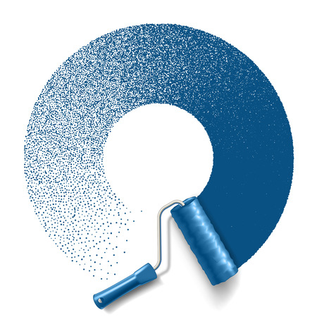 rollerbrush: Paint roller brush with blue paint circle track isolated on white background.