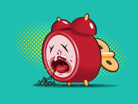 tos: reloj de alarma rojo enfermo vomita sus dígitos