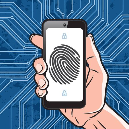 dactylogram: Smartphone in Hand with black finger print on white screen and electronics scheme background.