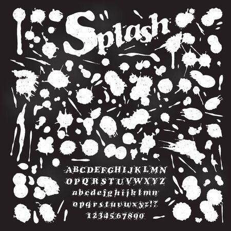 blots: Liquid Splash Font and Numbers with set of paint blots Illustration