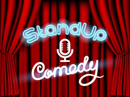 スタンド アップ コメディー ネオン レタリング赤いカーテンとライブ ステージ