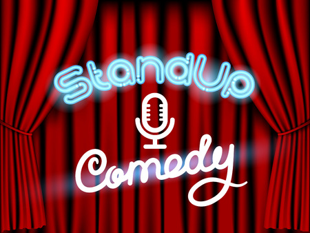 comedy show: stand up comedy neon lettering live stage with red curtain Illustration
