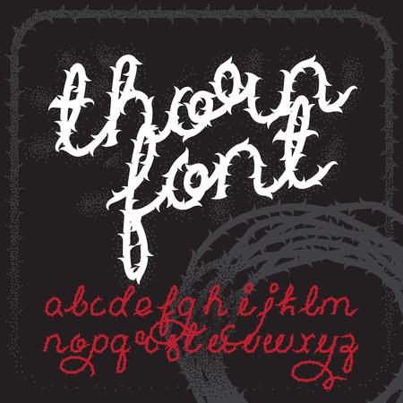 Thorn carattere alfabeto vettore. lettere di script pennello. Stock Vector lettering tipografia