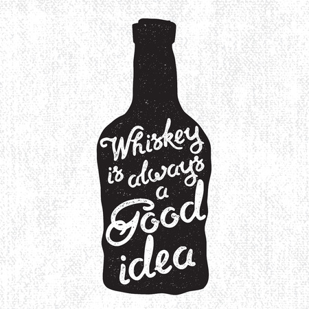bourbon whisky: Whiskey bottle and handwritten lettering Whiskey is always a good idea on the canvas background. Vector illustration Illustration