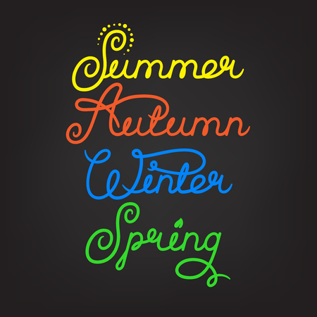 seasons of the year: Handwritten seasons of the year: summer, autumn, winter, spring. Calligraphy words for calendars and organizers. Stock vector lettering typography Illustration