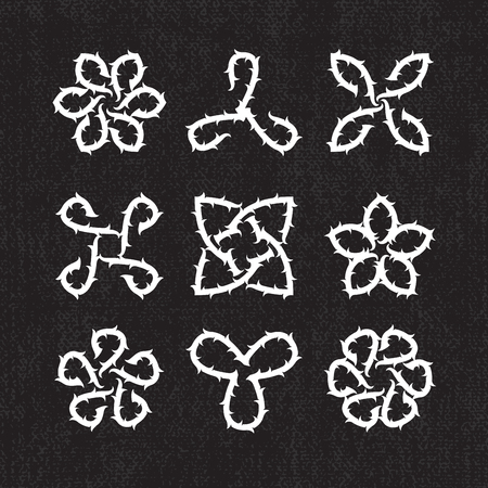 dry flowers: Set of abstract Celtic or Gothic decorative with thorn elements. Illustration