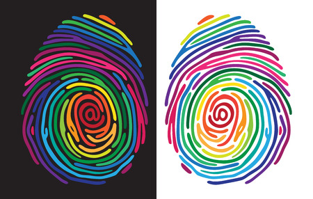 thumbprint: Abstract color finger print on black and white background.