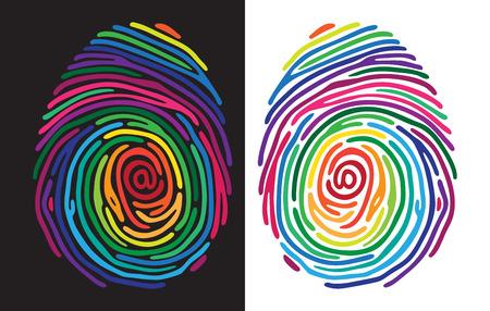 odcisk kciuka: Streszczenie kolor odcisków palców na czarno-białym tle.