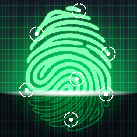 dactylogram: fingerprint identification system green color