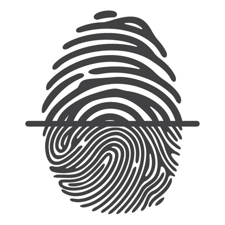 conception: Black fingerprint isolated on white background. Elements of identification systems, security conception, apps icons.