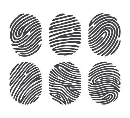 Black finger print set isolated on white background. Elements of identification systems, security conception, apps icons.