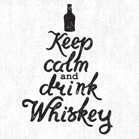 ウイスキー ボトルと手書きレタリング穏やかな維持、キャンバスの背景にウイスキーを飲みます。