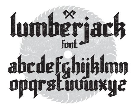 Lumberjack neuen modernen kundenspezifischen gotischen Alphabet Schriftart. Schwarz Schriftsatz auf Säge und Leinwand Hintergrund Standard-Bild - 52119253