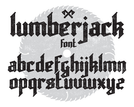 Lumberjack new modern custom gothic alphabet font. Black font set on saw and canvas background