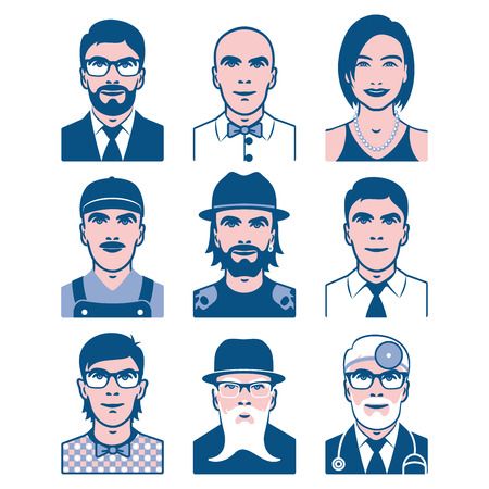 occupation: Users avatars. Occupation and people icons. Collection of people avatars for profile page, social network, different age man and woman characters. Illustration