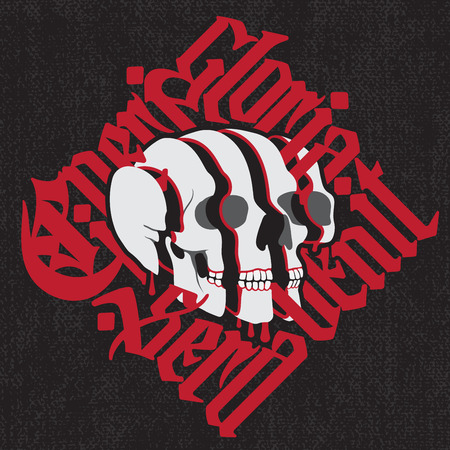 Sliced surreal Skull with red gothic lettering on black canvas background.  calligraphic t-shirt design