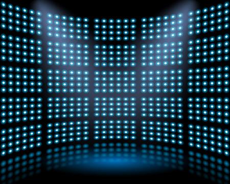 電球に光る背景の壁とパフォーマンス ステージ。 抽象的な背景