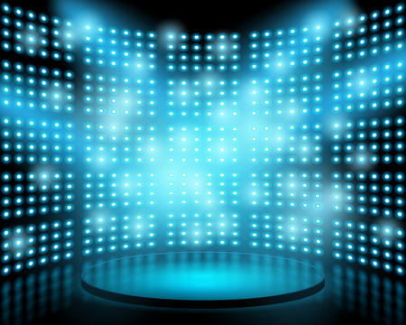 Performance stage with lightbulb glowing backdrop wall. abstract background Vectores