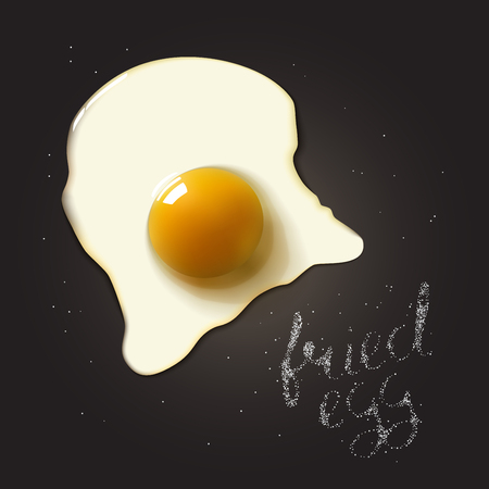 raw egg: Fried egg in a frying pan with salt lettering. Breakfast healthy background.