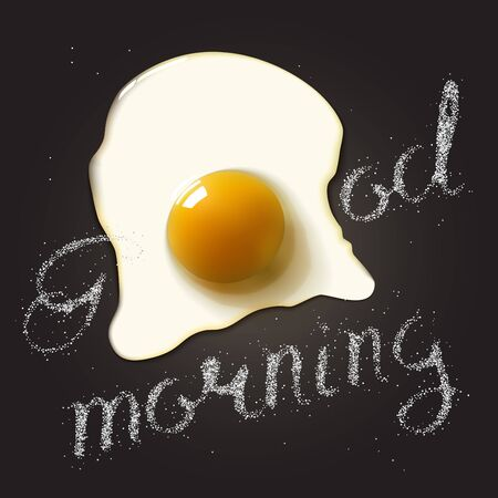 raw egg: Fried egg in a frying pan with Good Morning salt lettering. Breakfast healthy background. Stock Photo